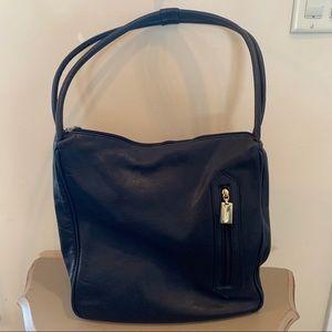 Tignanello Navy Blue Leather Hobo Bag